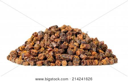 Propolis Granules Isolated On White Background, Bee Product
