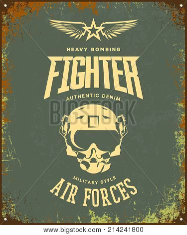Vintage fighter pilot helmet vector logo isolated on khaki background. Premium quality air force logotype t-shirt emblem illustration poster. Military street wear superior retro tee print design.