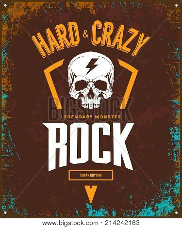 Vintage hard and crazy rock vector t-shirt logo isolated on dark background. Premium quality skull logotype tee-shirt emblem illustration.Street wear legendary music style old retro tee print design.