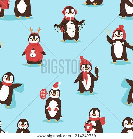 Christmas cute penguin vector character cartoon bird celebrate Xmas poses - play, walc, fly and happy face smile Santa red hat cute birds posing. Christmas holiday penguins seamless pattern background