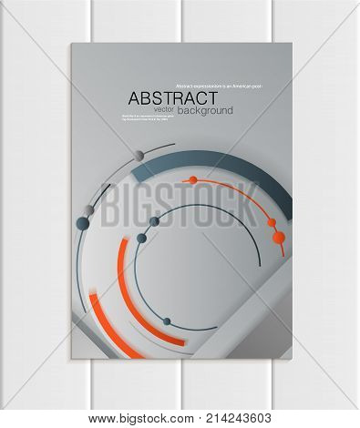 Stock vector brochure A5 or A4 format material design style. Design business templates with abstract round shapes on gray backgrounds for printed material, element corporate style, card, cover