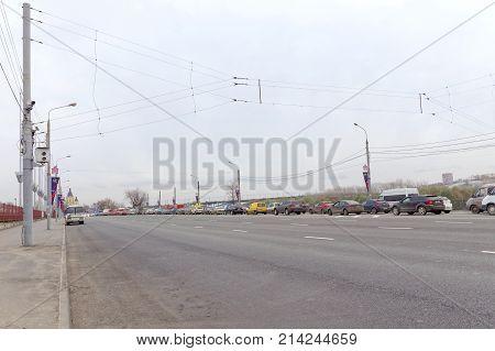 Nizhny Novgorod, Russia. - October 26.2017. Lenin Square Is A Morning Traffic Jam In The Direction O