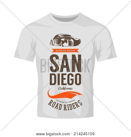 Vintage classic vehicle vector logo on white t-shirt mock up. Premium quality retro car logotype tee-shirt emblem illustration. San Diego California street wear superior retro tee print design.