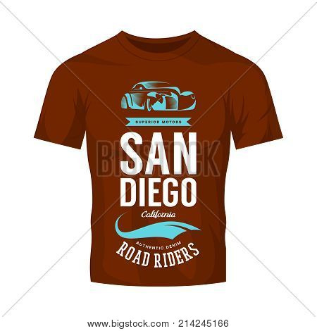 Vintage classic vehicle vector logo on dark t-shirt mock up. Premium quality retro car logotype tee-shirt emblem illustration. San Diego California street wear superior retro tee print design.