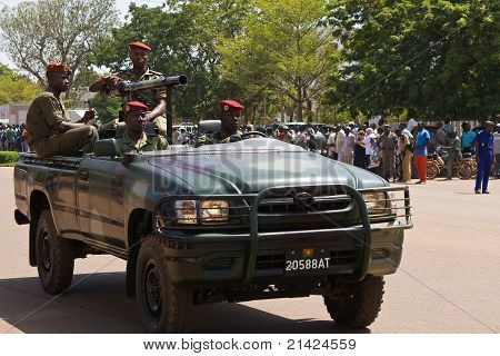 Armed car at a military parade in Ouagadougou, Burkina Faso