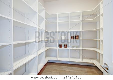 Pantry Interior With Empty Shelves In A New Home