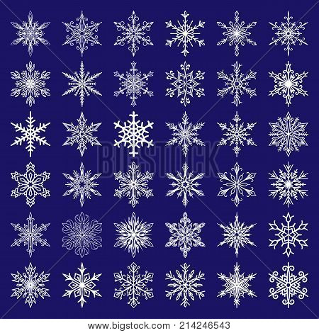 Snowflakes vector icons frozen frost star Christmas decoration snow winter flakes elemets Xmas holiday design. Winter snow traditional beautiful star ornament.