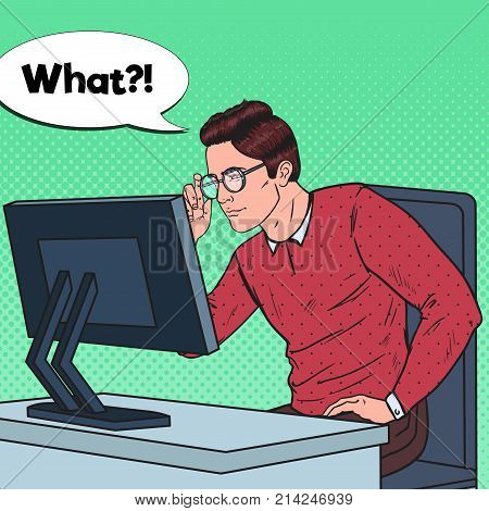 Pop Art Weak-Eyed Young Man in Eyeglasses Working at the Computer. Vector illustration