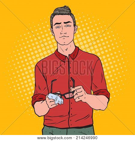 Pop Art Young Man Wiping his Eyeglasses with Rag. Vector illustration