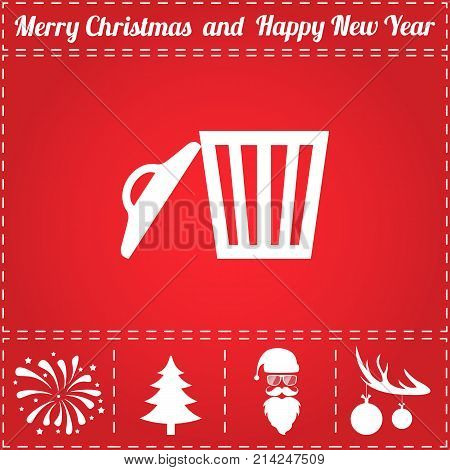Trash can Icon Vector. And bonus symbol for New Year - Santa Claus, Christmas Tree, Firework, Balls on deer antlers