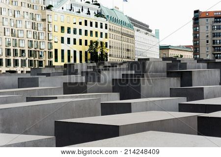 BERLIN GERMANY - AUGUST 25 2017; The Memorial to the Murdered Jews of Europe Berlin comprising series of stone cubes and pillars