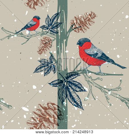 Seamless pattern with bullfinch on tree branch. Seasonal natural pattern with pine cones. Vector illustration. Hand drawn image.
