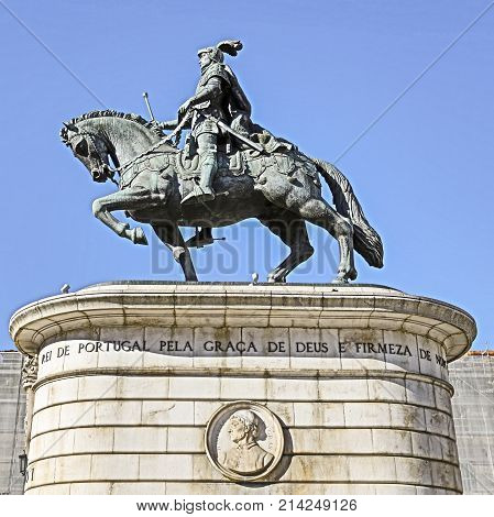 LISBON, PORTUGAL - October 23, 2017: Image HDR of the equestrian statue of King Dom Joao I located in Figueira Square in Lisbon Portugal.