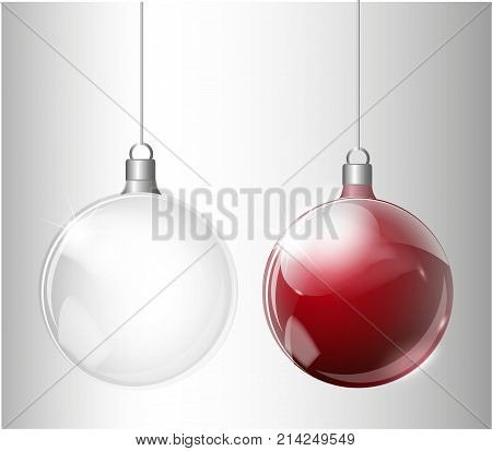 Christmas Transparent Ball Of Glass Elements Decorations Vector Object For Design