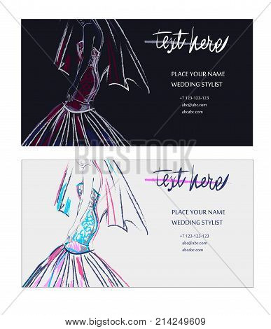 buisness cards of wedding stylist in hand drawn style