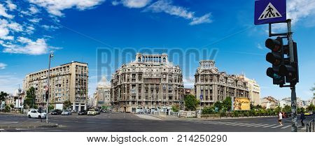 Bucharest, Romania - September 9, 2017: Panoramic view of historical Buildings in Bucharest city center. Blocul Adriatica-Trieste, Imobilul Adriatica are located on famous street Calea Victoriei