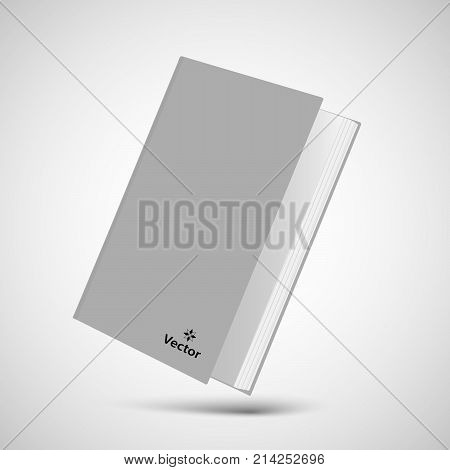 Book blank cover, vector mock-up book, isolated mockup book