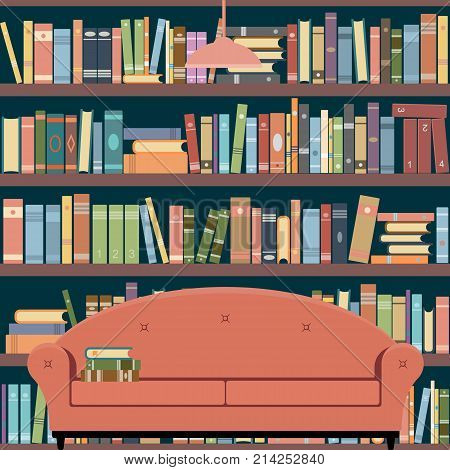 Interior room home library. Sofa and bookshelves. Vector illustration.