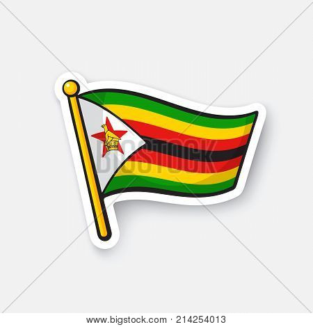Vector illustration. Flag of Zimbabwe. Location symbol for travelers. Isolated on white background. Cartoon sticker with contour. Decoration for greeting cards, patches, prints for clothes
