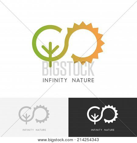 Infinity nature logo - green tree and the sun symbol. Ecology, environment and agriculture vector icon.