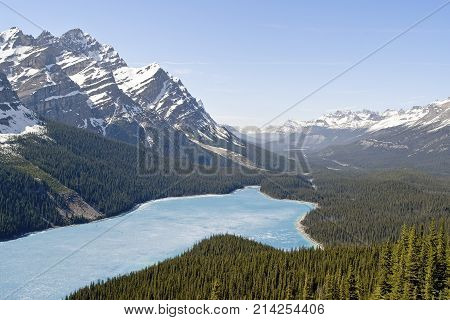 Spring Aerial View Of The Peyto Lake - Banff National Park, Canada