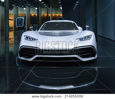 Frankfurt, Germany - Sep 17, 2017: Mercedes Amg Project One At Iaa, Front View