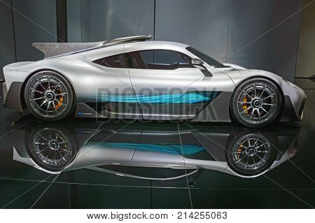 Frankfurt, Germany - Sep 17, 2017: Mercedes Amg Project One At Iaa, Side View