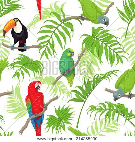 Seamless pattern with tropical birds and palm fronds on white background. Colorful parrots and toucan sitting on branches. Tropic rainforest foliage texture. Vector flat illustration.