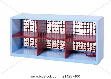 Shelving unit over white background with clipping path