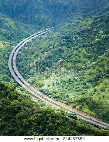 Landscape and scenic view of H3 highway from the Aeia Loop Trail on Oahu Hawaii. poster