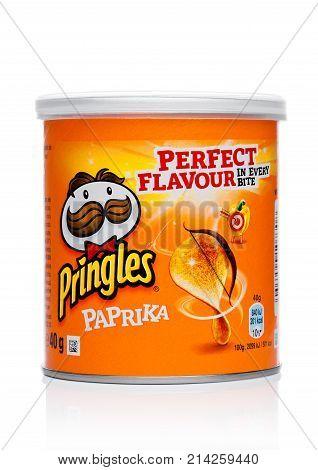 London, Uk - November 17, 2017: Pringles Potato Chips Paprica In Mini Tube On White. Potato And Whea