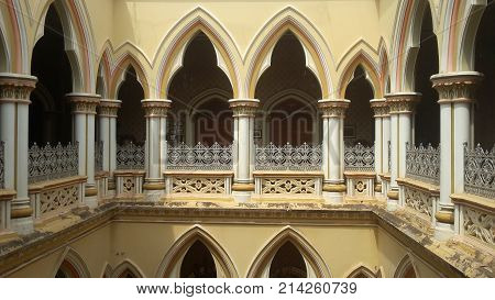 BENGALURU INDIA - FEBRUARY 20 2017: Interior decoration of famous Bangalore Palace. It was private residence of the royal Wodeyar family. It is filled with rare collection of art from a bygone era.