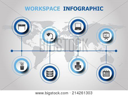 Infographic design with workspace icons, stock vector