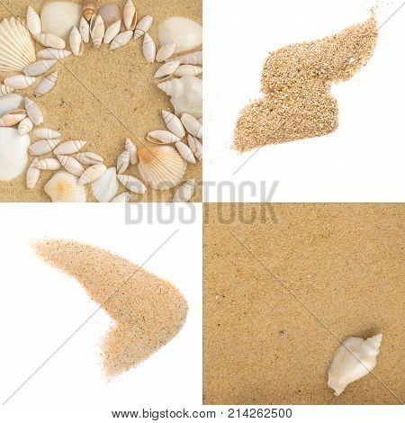 Set of sand splash or sand explode isolated on white background. Sand texture top view