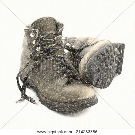 a pair of old, well-worn, hiking boots, brown with colorful laces and some mud,digital charcoal painting effect