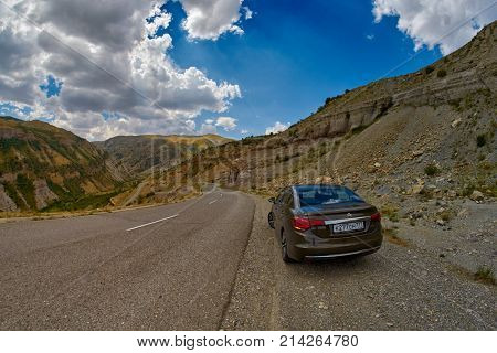 SELIM PASS, ARMENIA - 02 AUGUST 2017: Citroen vehicle on Selim Montiain pass of Armenia