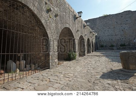 ULCINJ, MONTENEGRO - JULY 13, 2017: old stone jail cell of slave market in the Old Town