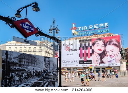 MADRID,SPAIN - AUGUST 6, 2017 : Puerta del Sol in Madrid, the center and most well known place of the spanish capital