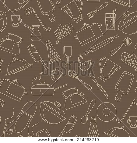 Seamless pattern on the theme of cooking and kitchen utensils simple contour icons beige contour on brown background