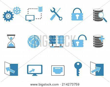 isolated blue database technology icons set from white background