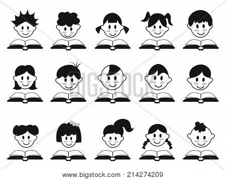 isolated kid head with book icons on white background