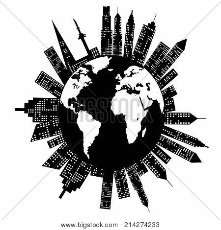 isolated buildings around the world on white background