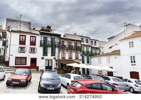 Betanzos, Galicia / Spain. August 25, 2017. View Of A Typical Town Square In Galicia With Wooden Bal