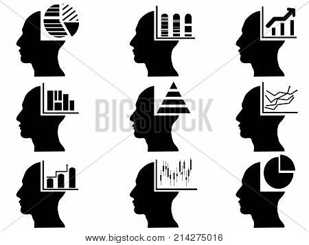isolated business head with statistics icons set on white background