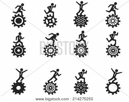 isolated businessman running gear icons set on white background
