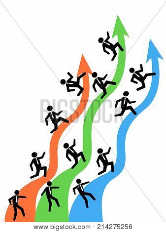 isolated businessman running on up arrows from white background