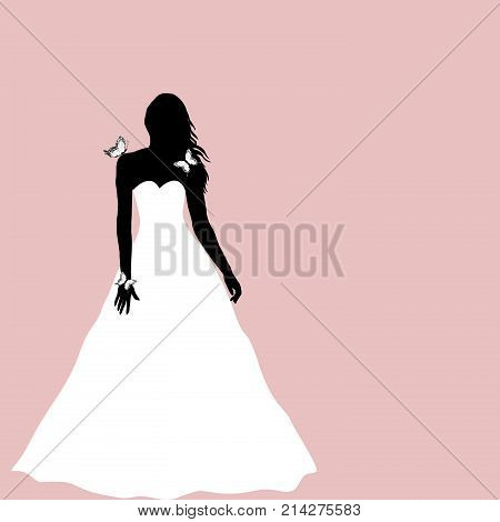 Bride silhouette with butterflies greeting card on pink backgrouns