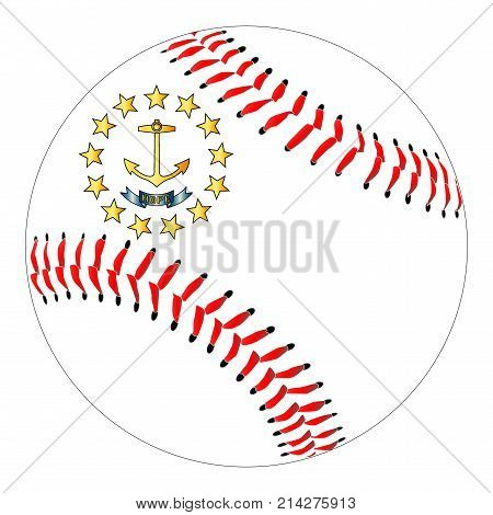 A new white baseball with red stitching with the Rhode Island state flag overlay isolated on white