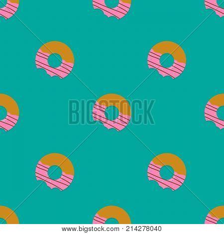 seamless pattern bitten donuts. fast food background
