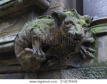 Photograph of a gargoyle on the corner of a building.